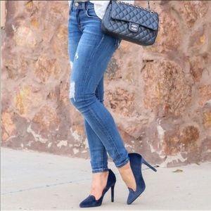Lauren Conrad Runway Collection Blue Suede Heels 6